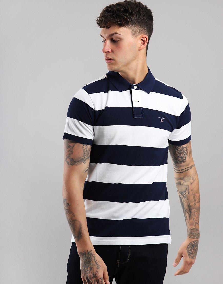 Gant Barstripe Rugger Polo Shirt White