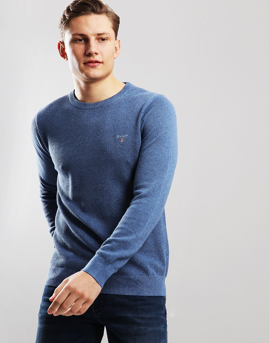 Gant UK Cotton Crew Neck jumper Denim Blue Marl
