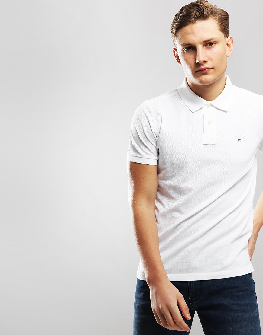 Gant UK Pique Polo Shirt White