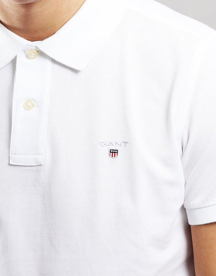 Gant UK Pique Polo Shirt White