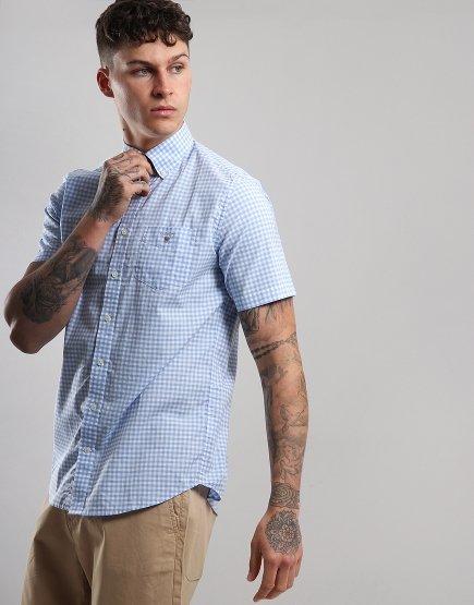 Gant Short Sleeve Broadcloth Gingham Shirt Capri Blue