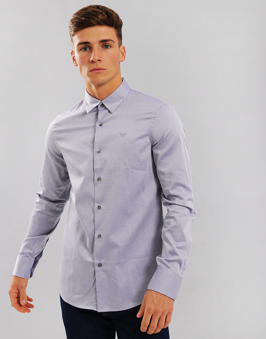 Emporio Armani Long Sleeve Woven Shirt Blue Stripe