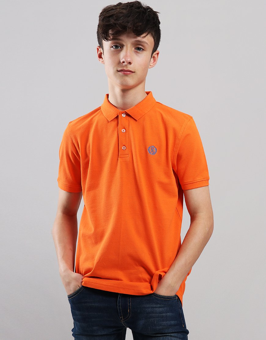 Henri Lloyd Junior Pop Collar Polo Shirt Red Orange