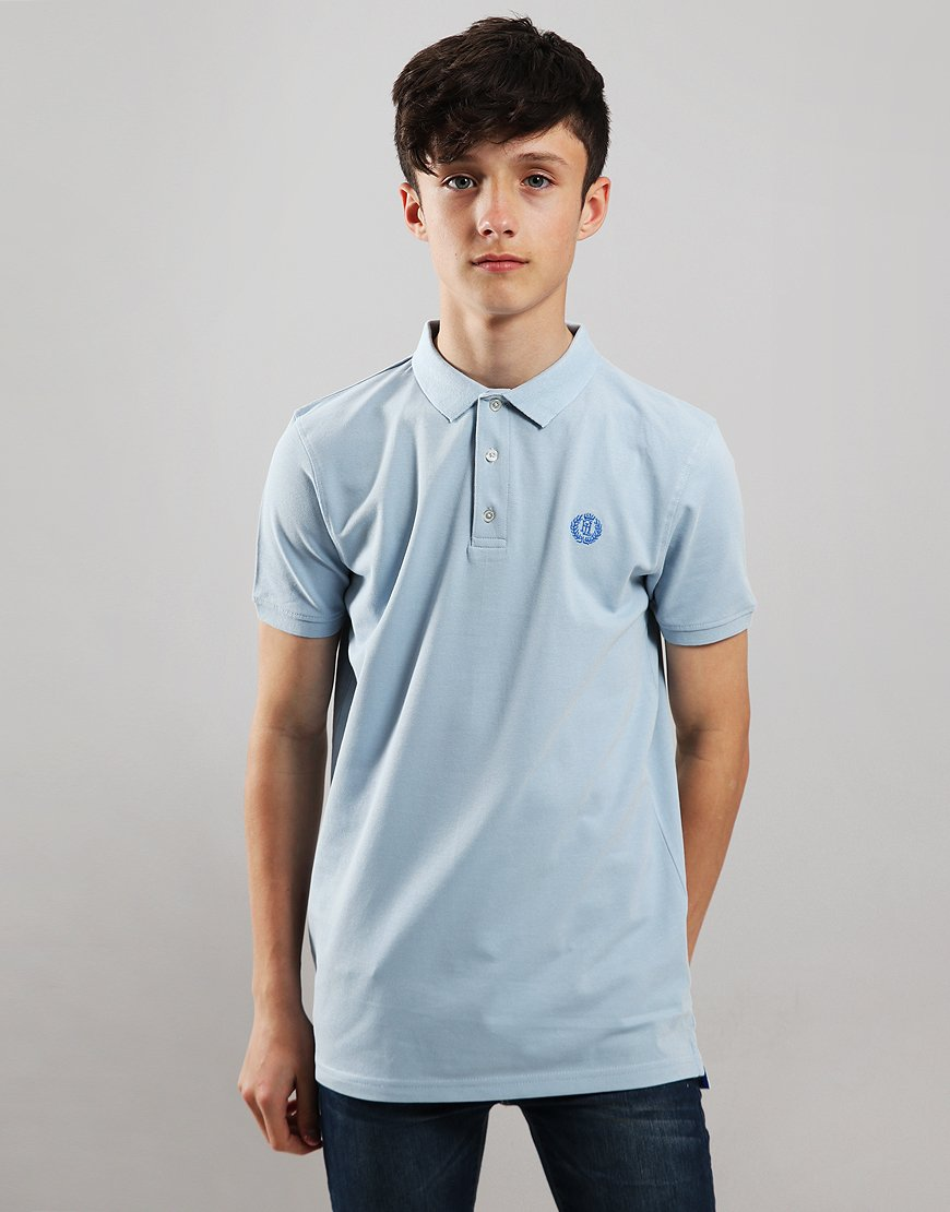 Henri Lloyd Junior Pop Collar Polo Shirt Sky Blue