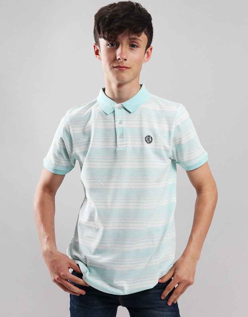 Henri Lloyd Yarn Dyed Wide Strip Polo Shirt Eggshell Blue