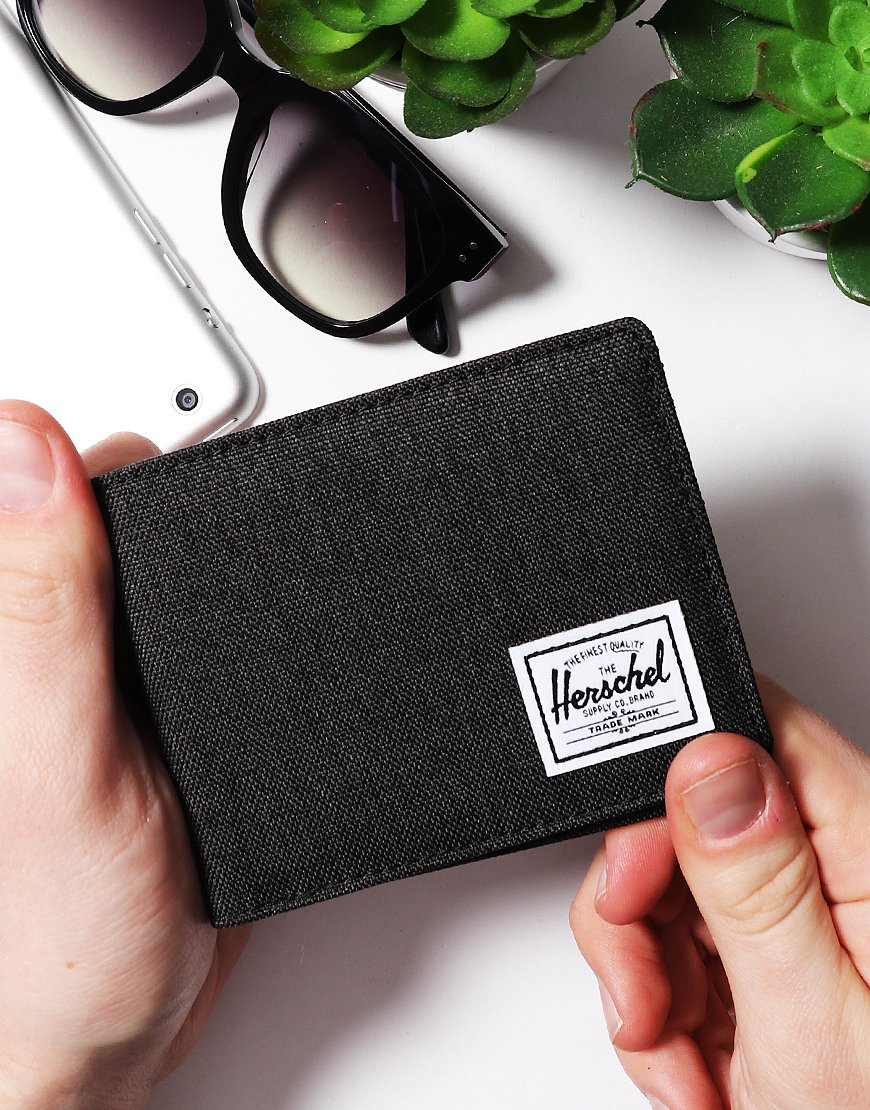 Herschel Roy Bi-Fold Wallet Black Crosshatch