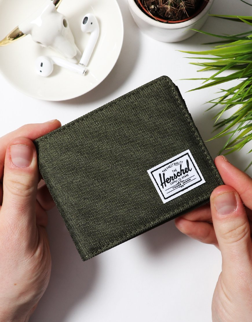 Herschel Roy Bi-Fold Wallet Olive Night Cross