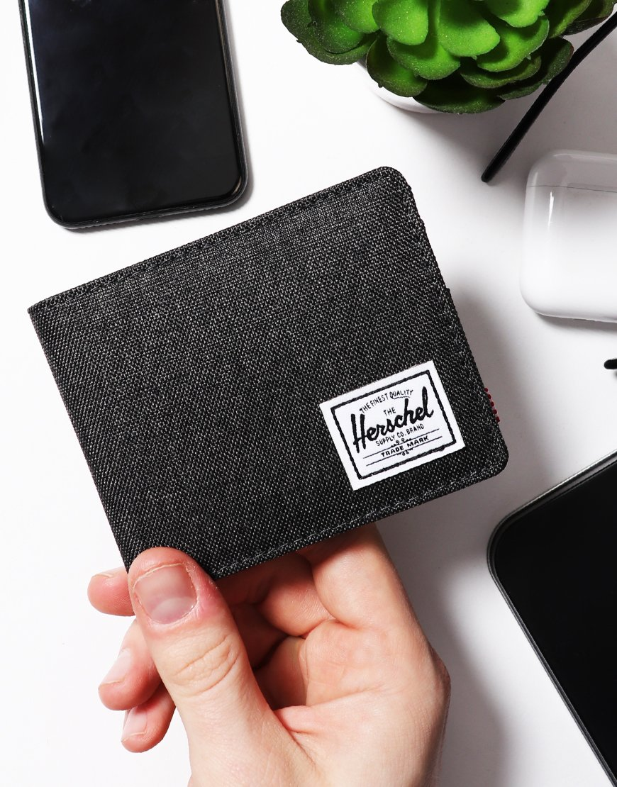 Herschel Roy Coin RFID Wallet Black Crosshatch