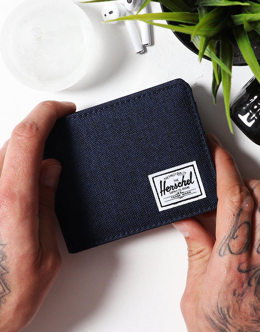 Herschel Roy Coin RFID Wallet Mid Blue Cross