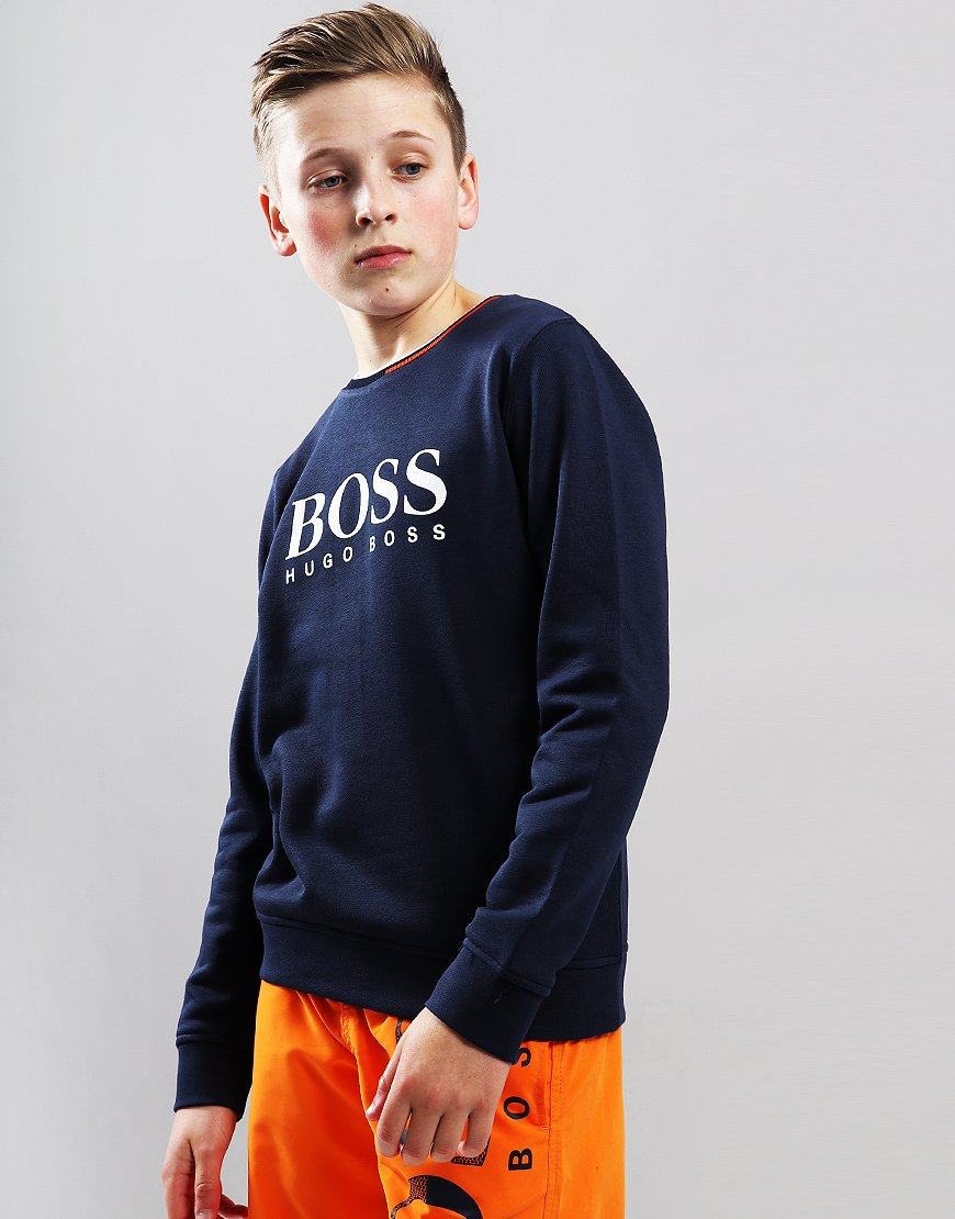 28d461d3 BOSS Kids Logo Crew Neck Sweat Navy - Terraces Menswear