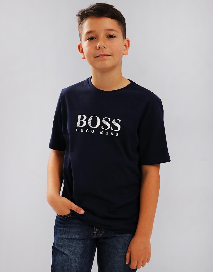 BOSS Kids J25D13 Print T-Shirt Navy
