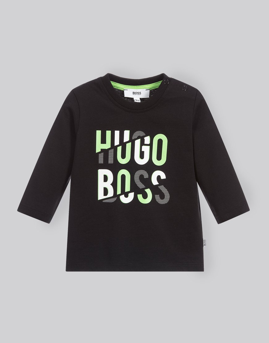 ba5950b7dd0e BOSS Kids Long Sleeve T-Shirt Black - Terraces Menswear