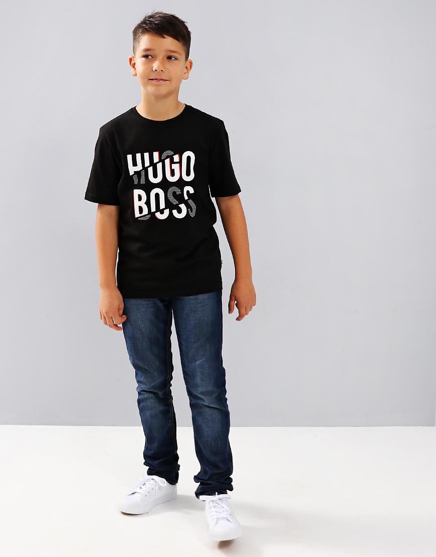 BOSS Kids J25D03 Print T-Shirt Black