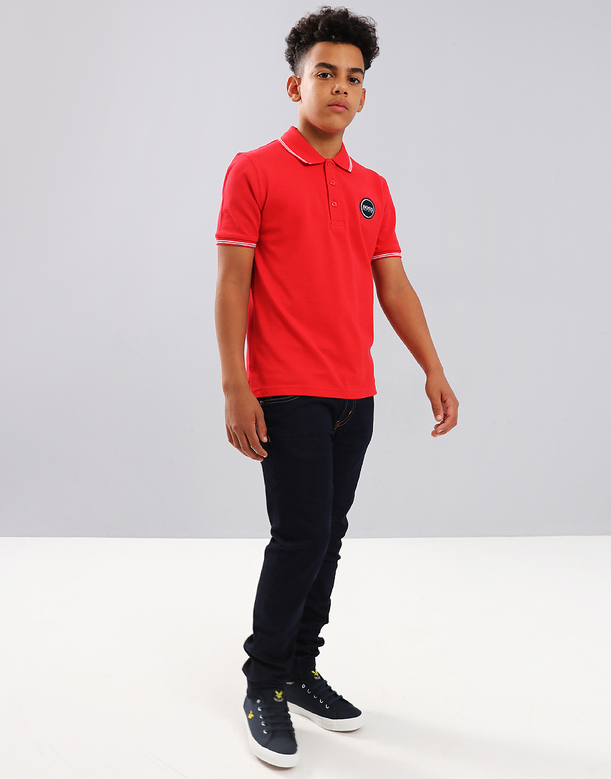 9b1e3d9bd BOSS Kids J25C79 Polo Shirt Red - Terraces Menswear