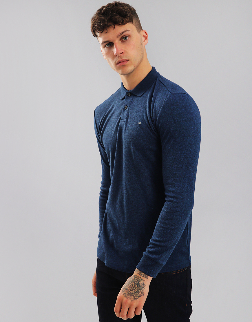 Weekend Offender Joshua Long Sleeve Polo Shirt Blue Melange