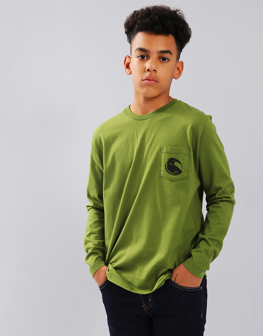 C.P. Company Kids Long Sleeve Lens Print Pocket Tee Pesto