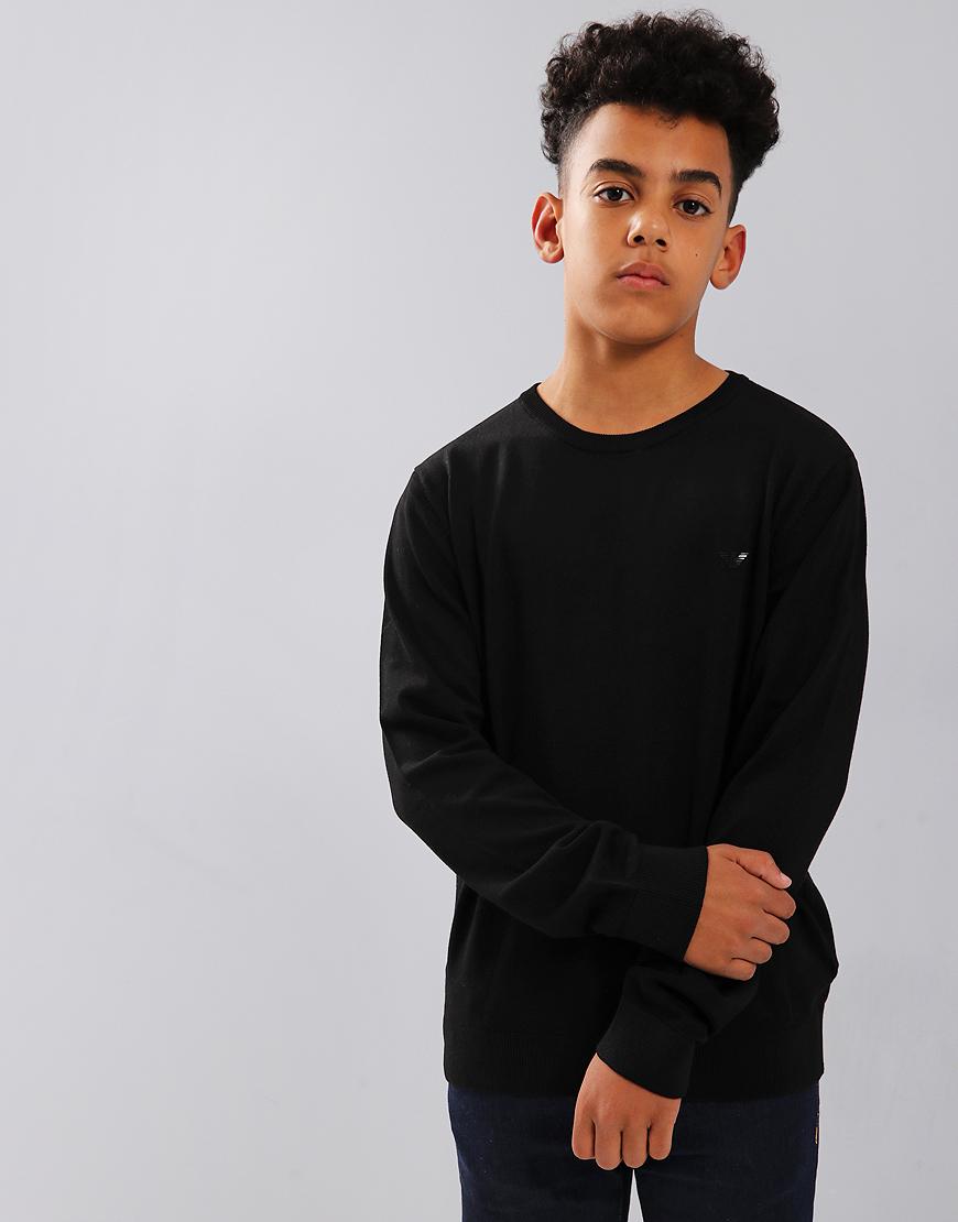 Armani Junior Knitted Crew Neck Jumper Black