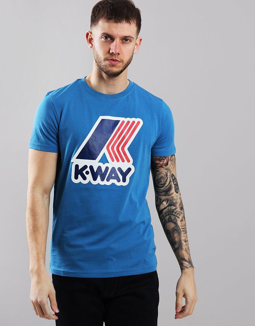 K-Way Pete Macro Logo T-Shirt Blue Avio