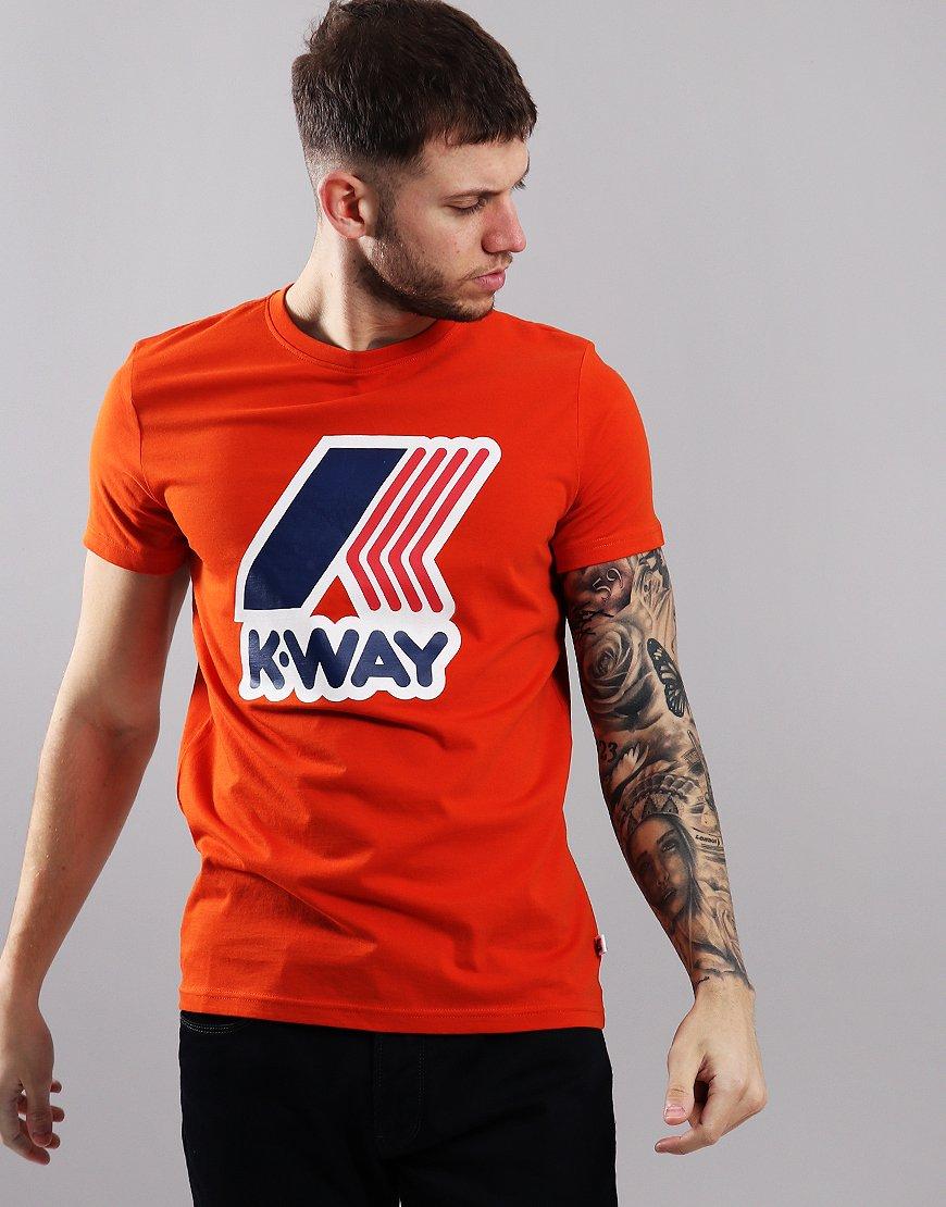 K-Way Pete Macro Logo T-Shirt Orange Dark