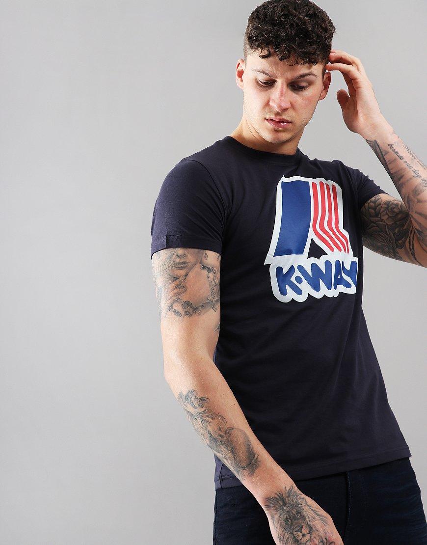 K-Way Pete Macro Logo T-Shirt Blue Depth