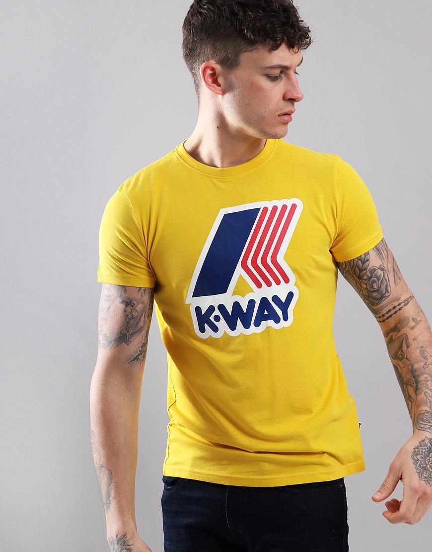 K-Way Pete Macro Logo T-Shirt Yellow Old