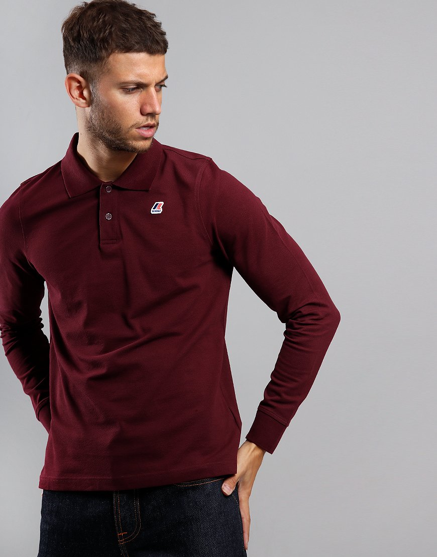 K-Way Rochel Long Sleeve Contrast Polo Shirt Red Dahlia