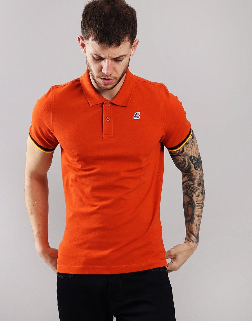K-Way Vincent Contrast Polo Shirt Orange Dark