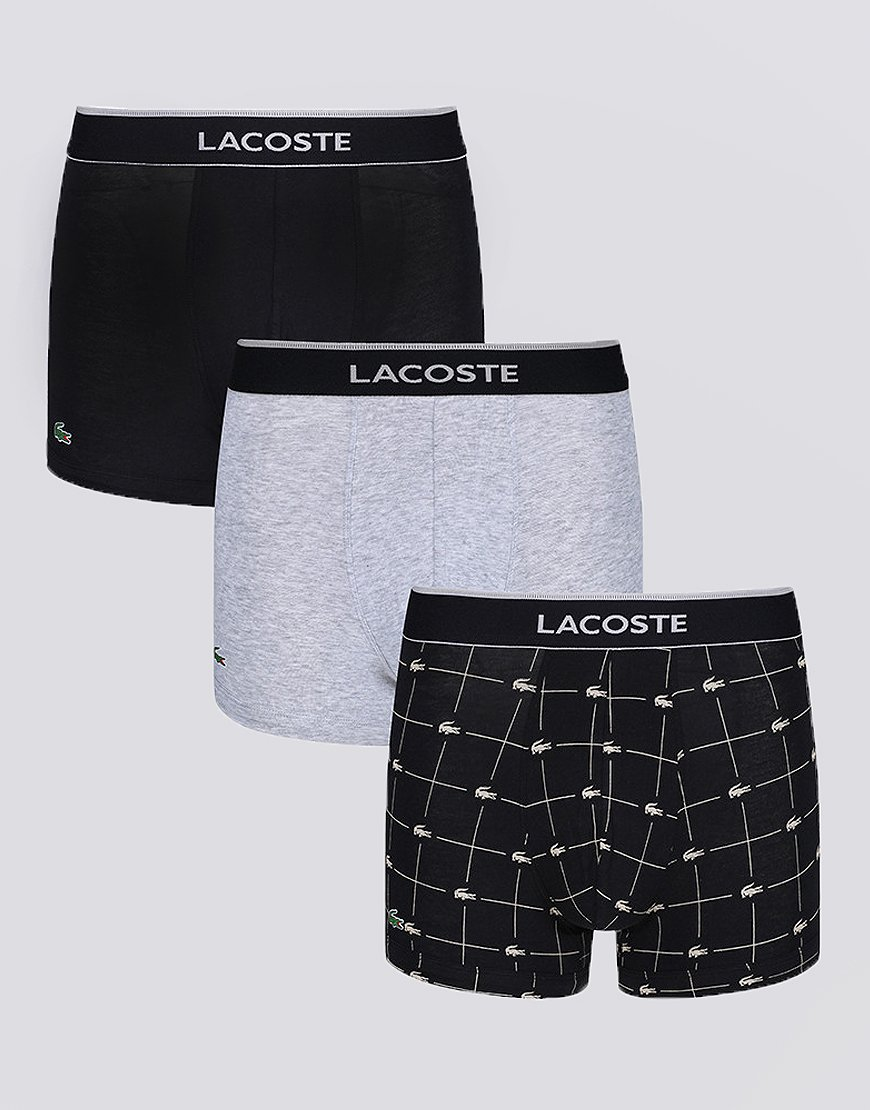 Lacoste 910 3 Pack Boxer Shorts Black/Grey