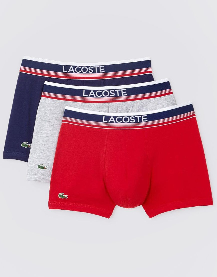 Lacoste 901 3 Pack Boxer Shorts Navy/Grey/Red