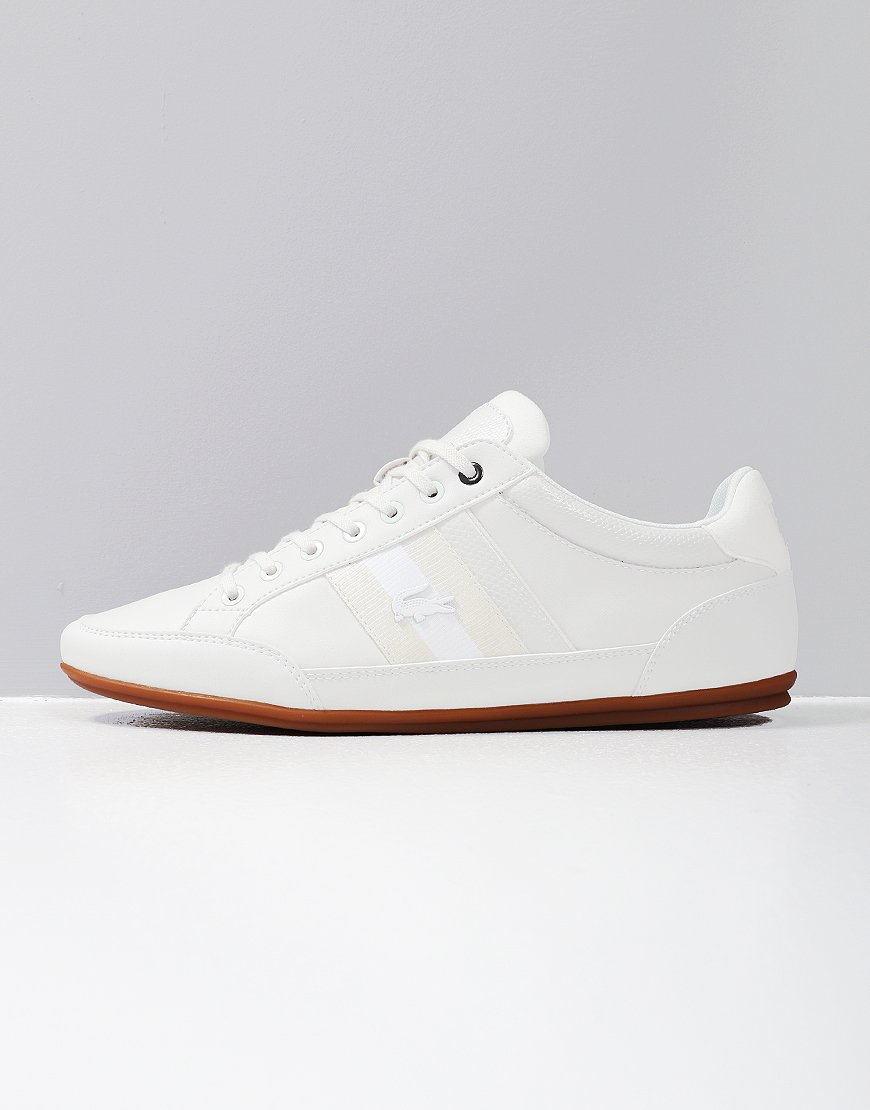 71ca7586b Lacoste Chaymon Leather Trainers Off White Gum