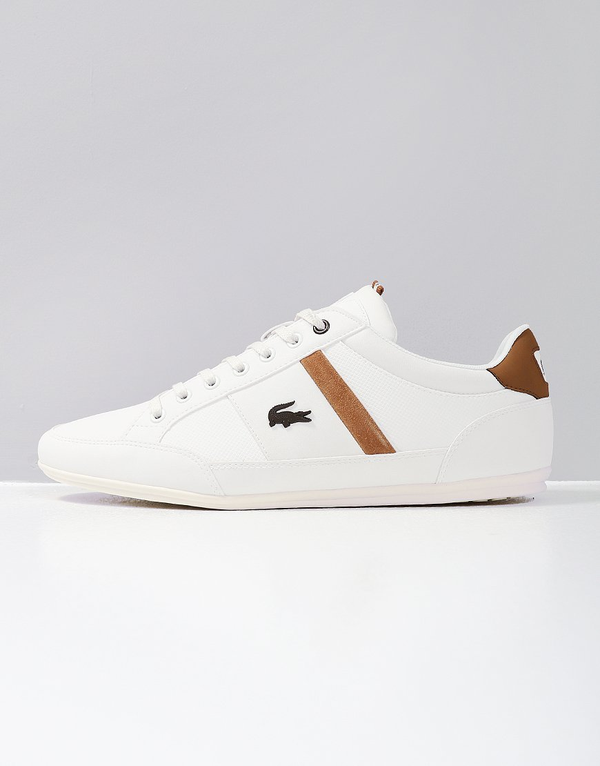 f164487e7 Lacoste Chaymon Leather Trainers White Light Brown