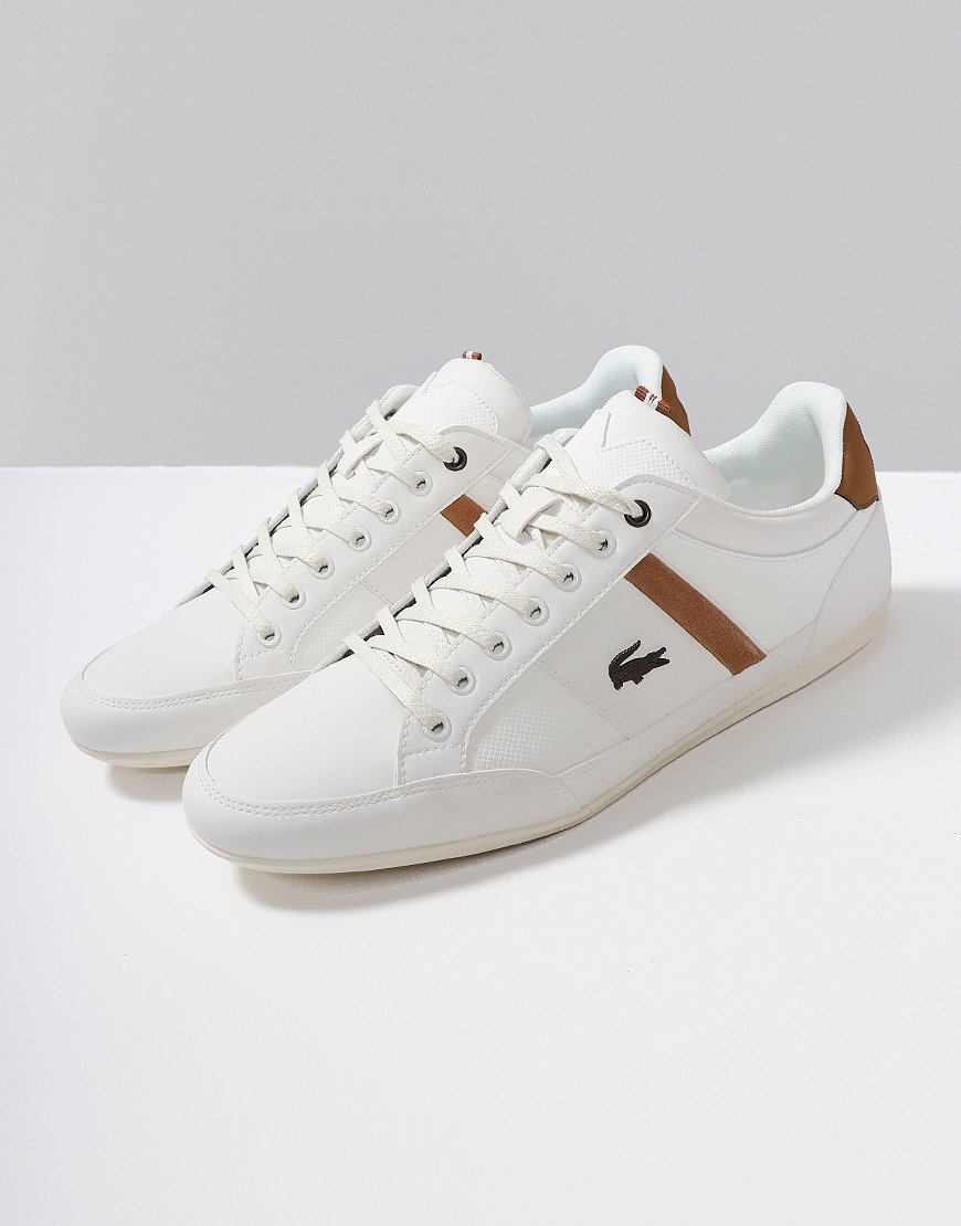 d6bc809a79411 Lacoste Chaymon Leather Trainers White Light Brown - Terraces Menswear