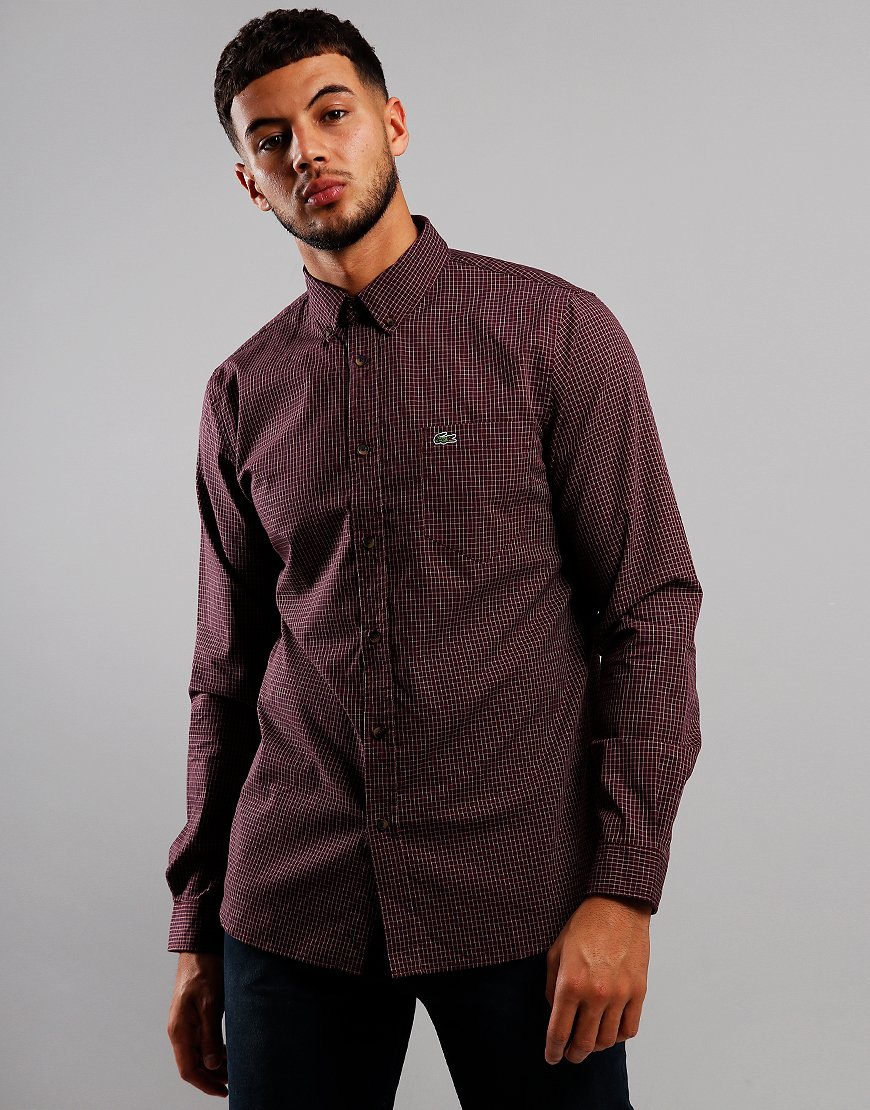 Lacoste Long Sleeve Check Shirt Wine/Viennese