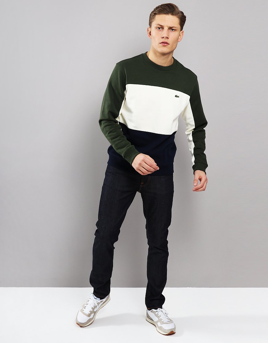 Lacoste Colour Block Crew Neck Sweat Navy Greode-Caper