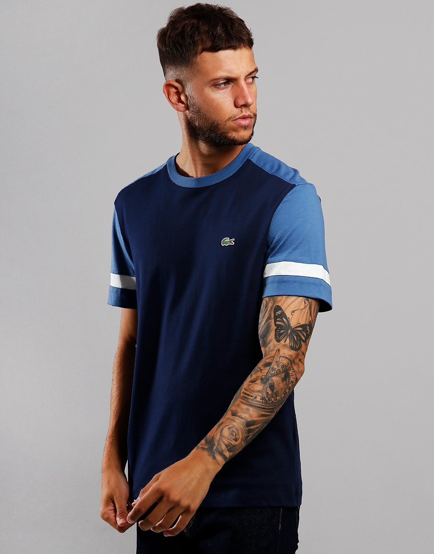 Lacoste Contrast Sleeve T-Shirt Navy/King/Flour