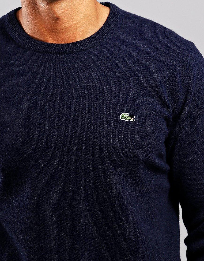 Lacoste Wool Crew Neck Knit Navy/Sinople/Flour