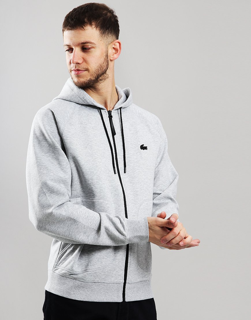 Lacoste Hooded Zip Sweat Silver Chine