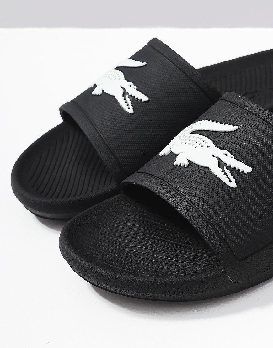5f06679c9cbc Lacoste Croc Slides 119 Black White - Terraces Menswear