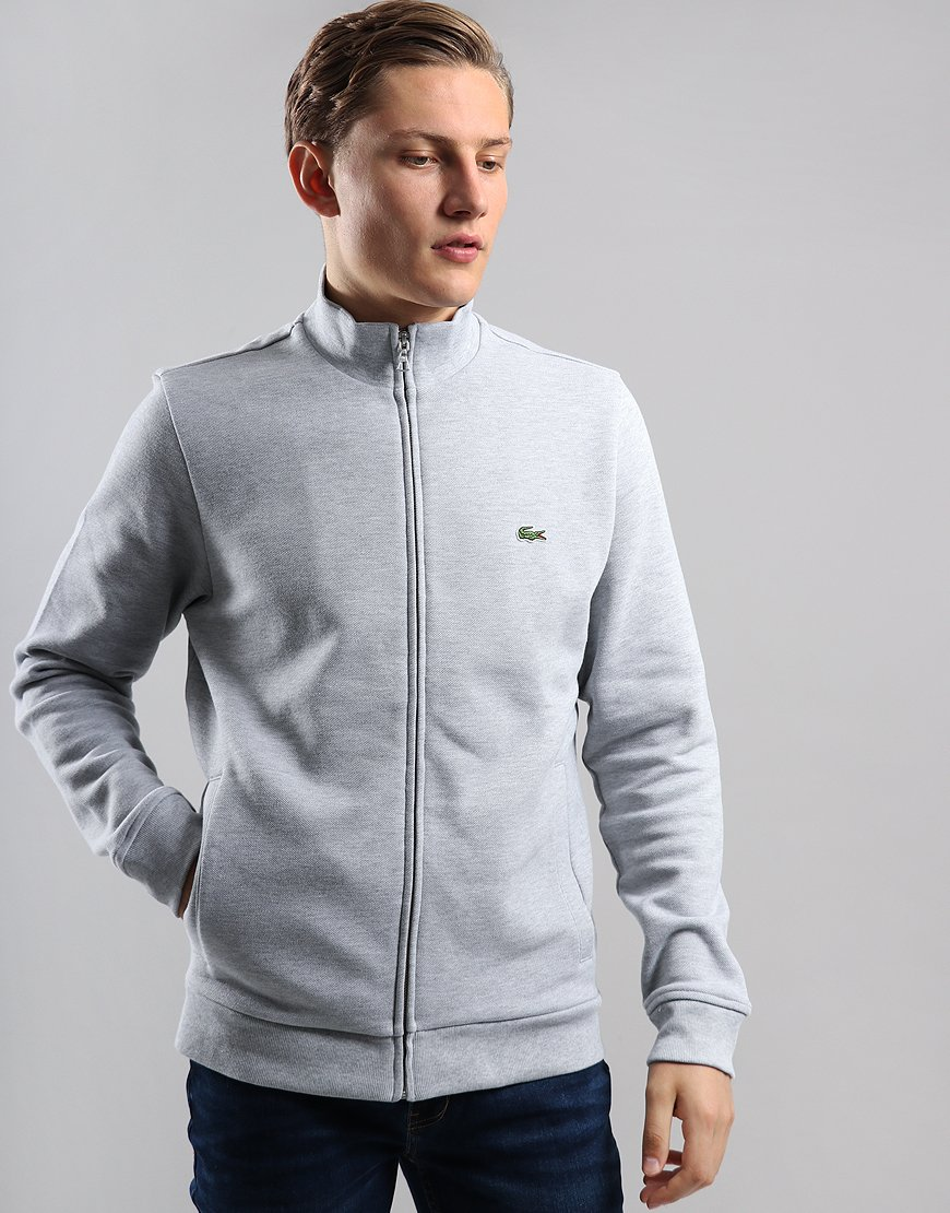 Lacoste Funnel Neck Piqué Zip Sweat Silver Chine
