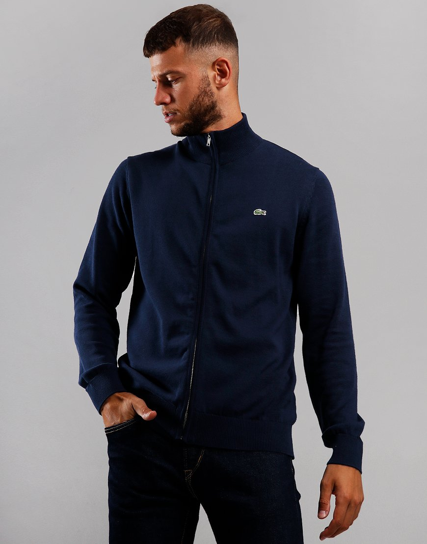 Lacoste Zip Funnel Neck Sweat Navy/Flour