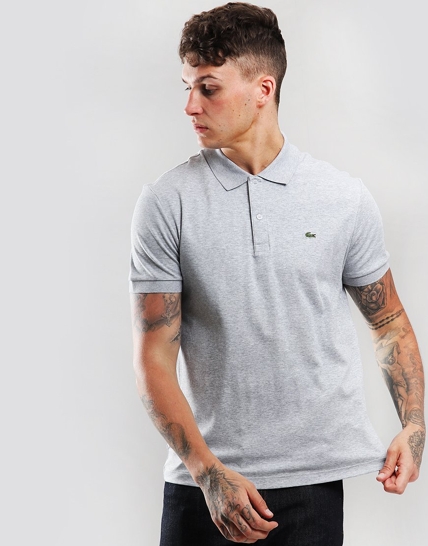 Lacoste Jersey Polo Shirt Silver Chine