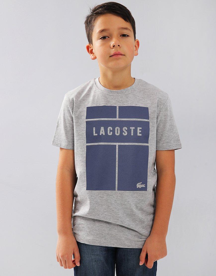 Lacoste Kids Block Print T-Shirt Silver Chine/Navy