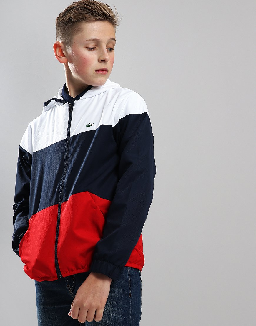 Lacoste Sport Kids Hooded Colourblock Tennis Jacket Navy