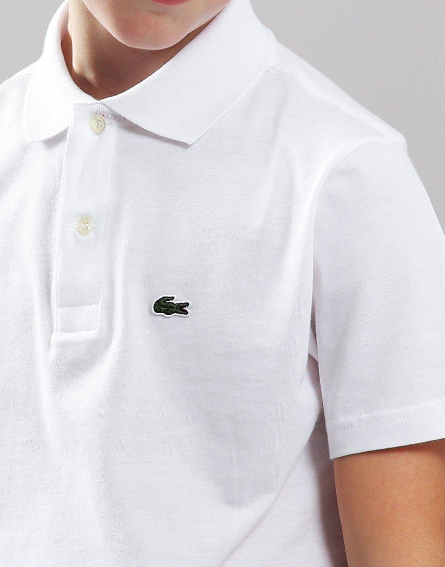 85fb6e668cbb8 Lacoste Kids Soft Cotton Jersey Polo Shirt In White - Terraces Menswear