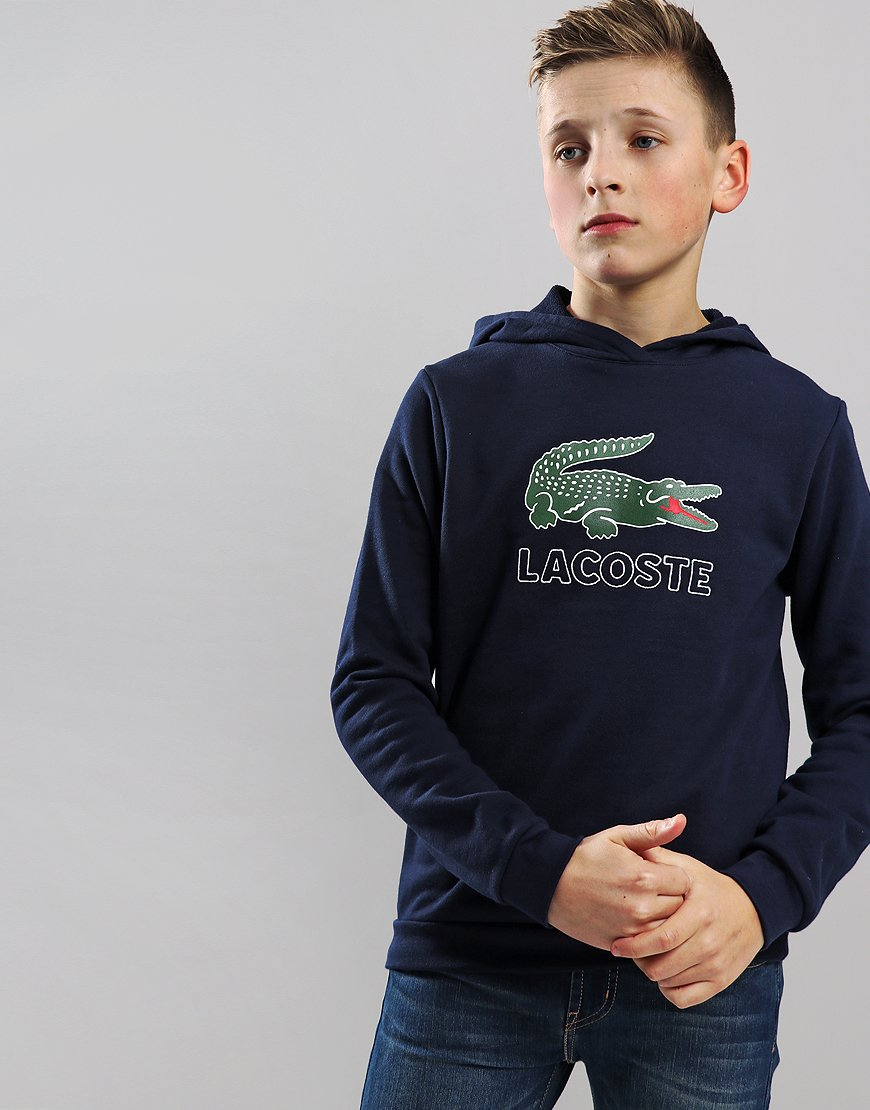 Lacoste Kids Logo Hoodie Navy Blue