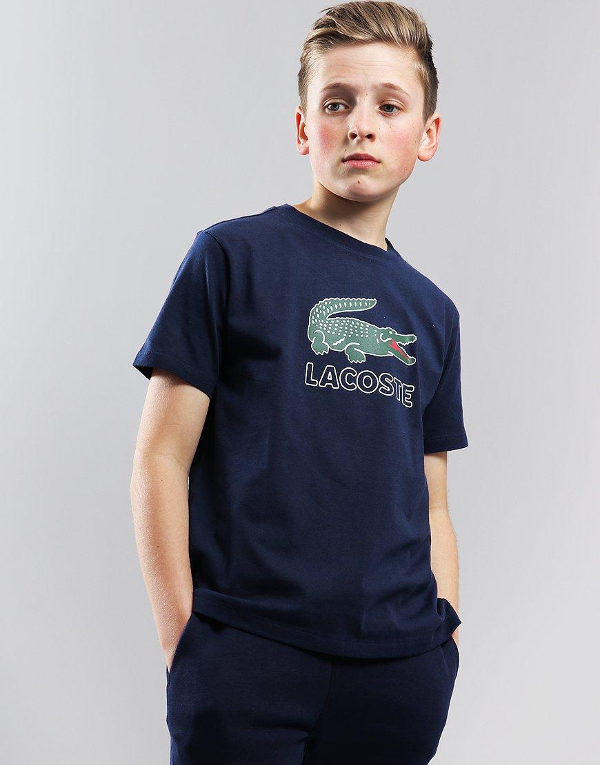 Lacoste Kids Logo Print T-Shirt Navy