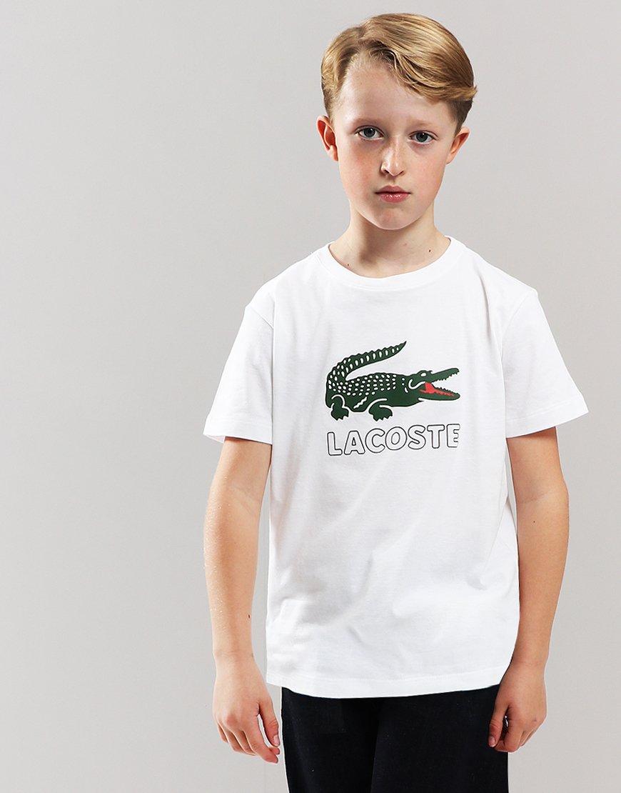 c5dc706925a32 Lacoste Kids Logo Print T-Shirt White - Terraces Menswear
