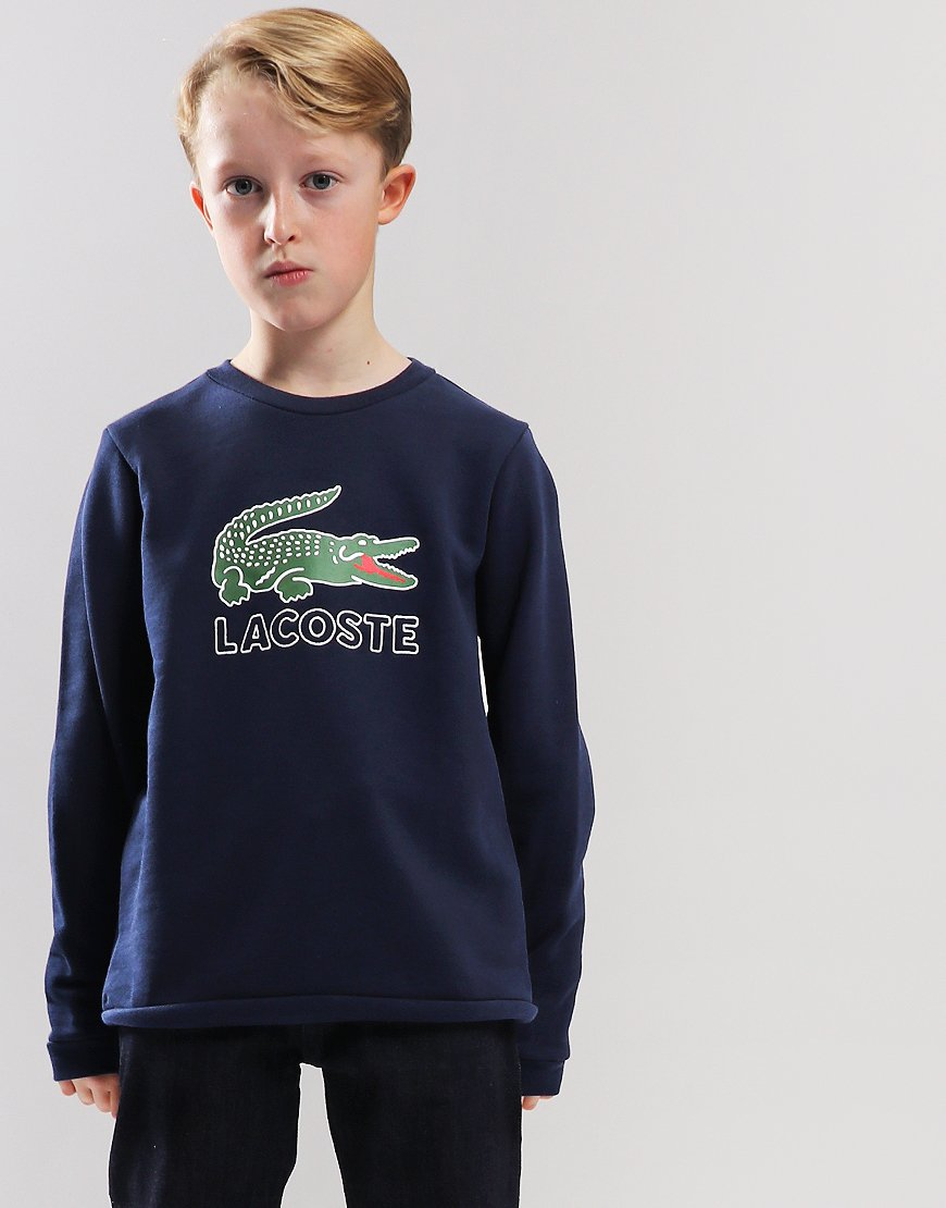 f3f0d40f9561 Lacoste Kids Logo Sweat Navy Blue - Terraces Menswear