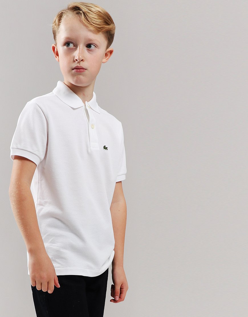 Lacoste Kids Plain Polo Shirt White