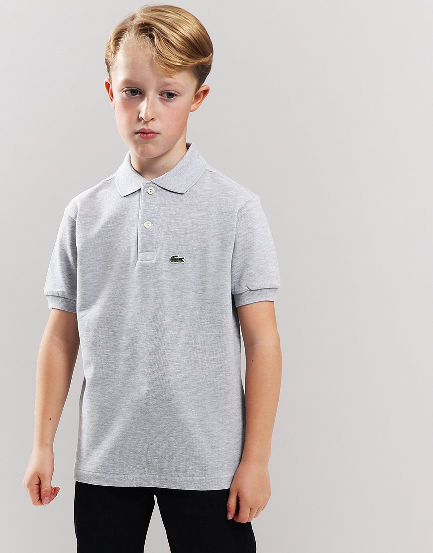 Lacoste Kids Plain Polo Shirt Silver Chine